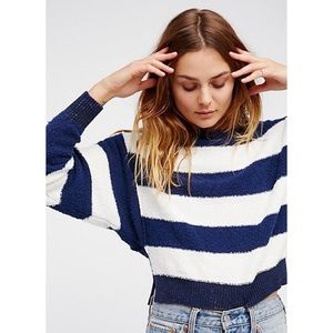 Free People Blue and White Striped Sweater
